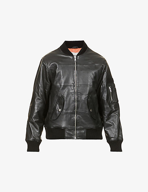 DEADWOOD: Zip-up recycled leather bomber jacket