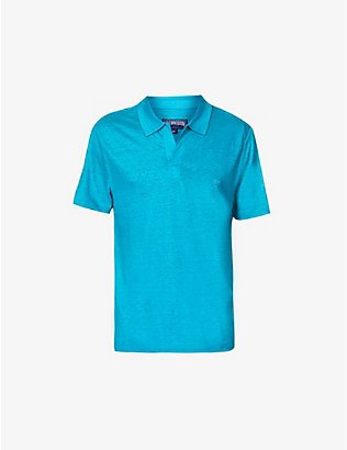 VILEBREQUIN: Turtle-embroidered linen polo shirt