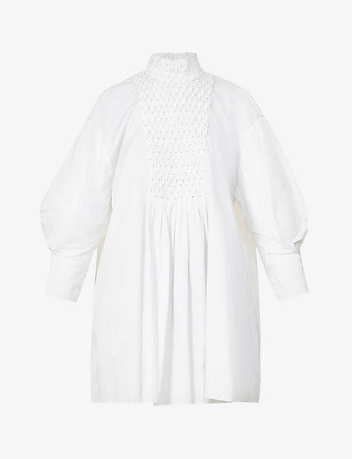 CAMILLA AND MARC: Tori pin-tucked puffed-sleeve cotton-poplin mini dress