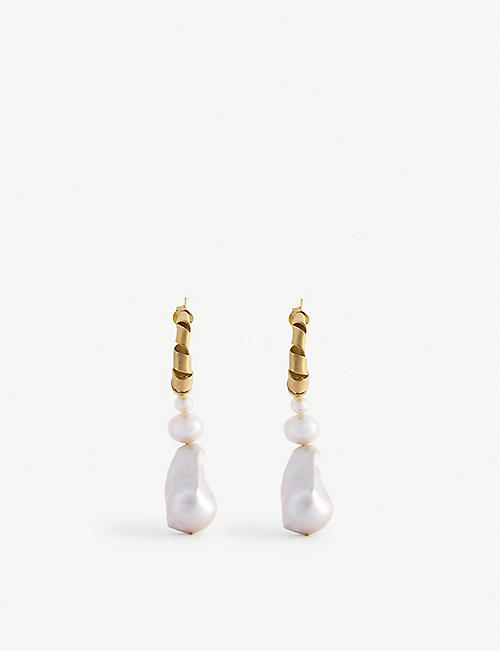 COMPLETEDWORKS: 14ct gold vermeil and pearl hoop earrings
