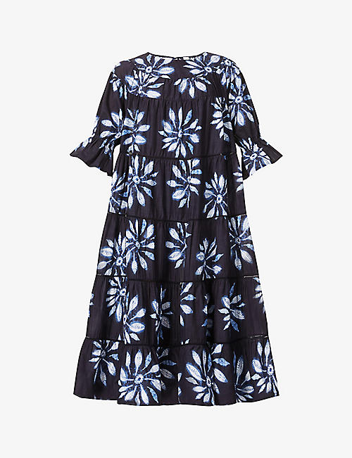 MERLETTE: Paradis Shibori organic cotton midi dress