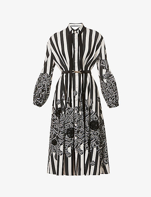 PORTS 1961: Stripe and swirl-pattern crepe midi dress