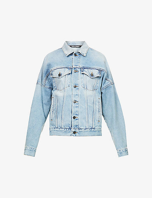 PALM ANGELS: Logo-print relaxed-fit denim jacket