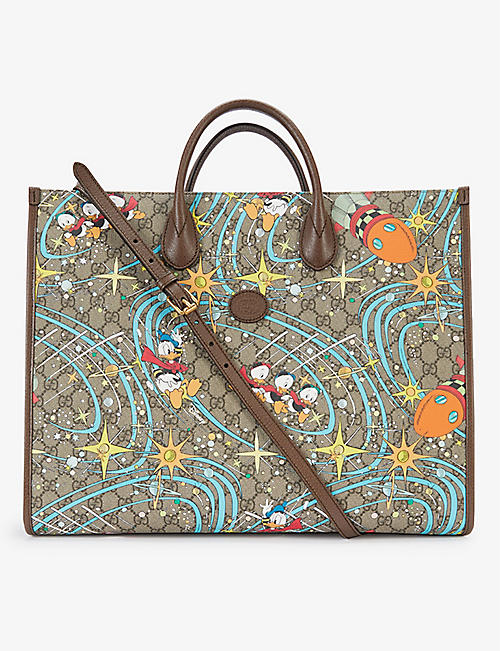 GUCCI: Gucci x Disney Donald Duck-print canvas tote bag