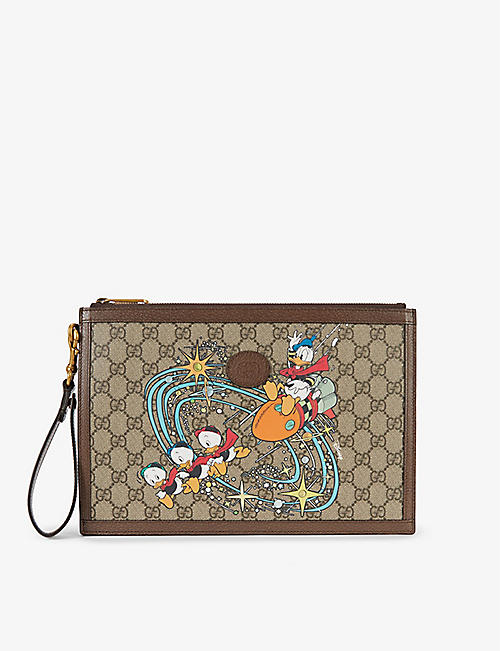 GUCCI: Gucci x Disney Donald Duck canvas and leather clutch bag