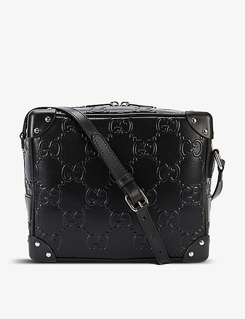 GUCCI: GG-embossed leather messenger bag