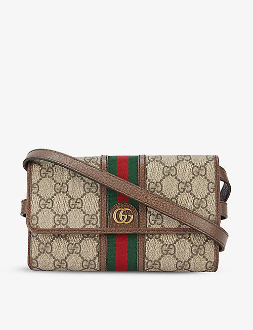 GUCCI: Ophidia mini canvas and leather cross-body bag