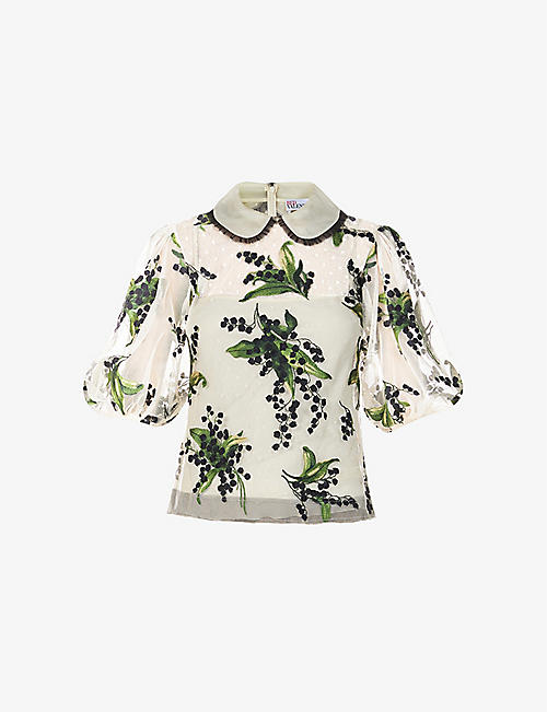 RED VALENTINO: May Lily floral tulle top
