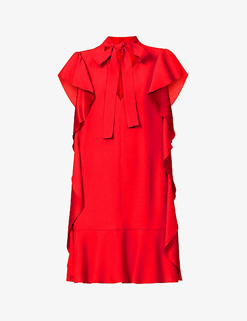 RED VALENTINO: Frilly-trim crepe mini dress