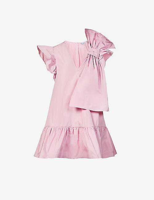 RED VALENTINO: Bow-detailed shell mini dress
