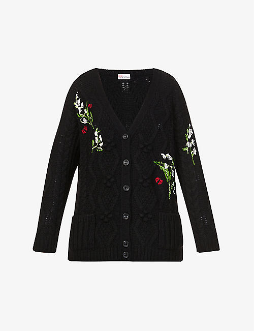 RED VALENTINO: Floral-embroidered knitted cardigan