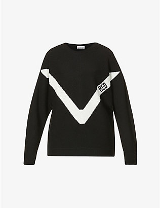 RED VALENTINO: Logo-embroidered stretch-knit jumper