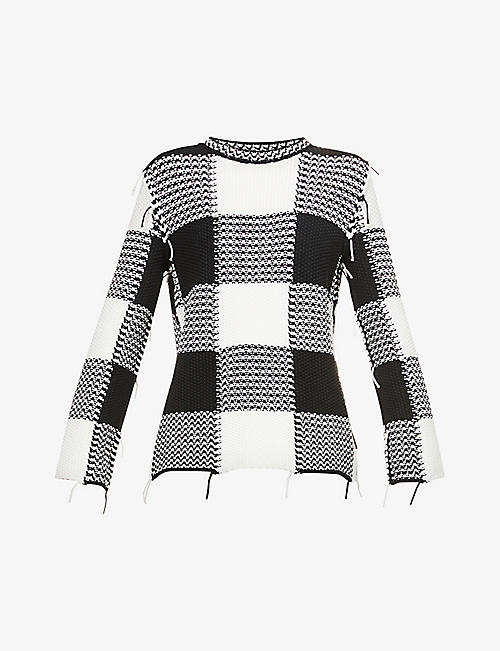 RED VALENTINO: Checked frayed cotton-blend knitted jumper
