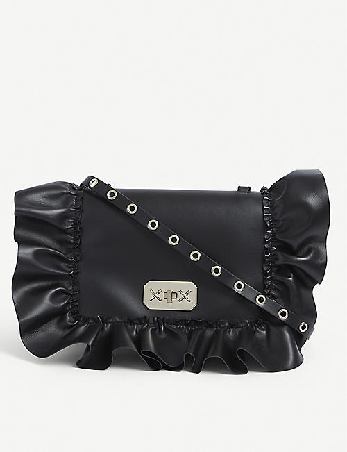 RED VALENTINO: Audrey ruffle-trim leather cross-body bag