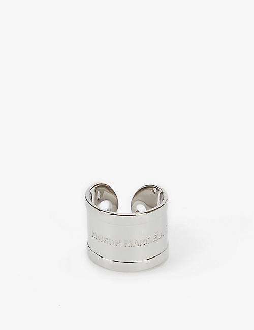 MM6 MAISON MARGIELA: Key tag logo-engraved silver-plated ring