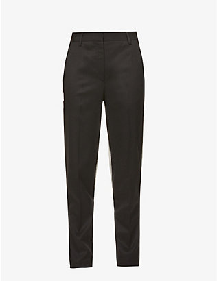 MM6 MAISON MARGIELA: Two-tone slim-leg mid-rise stretch-woven trousers