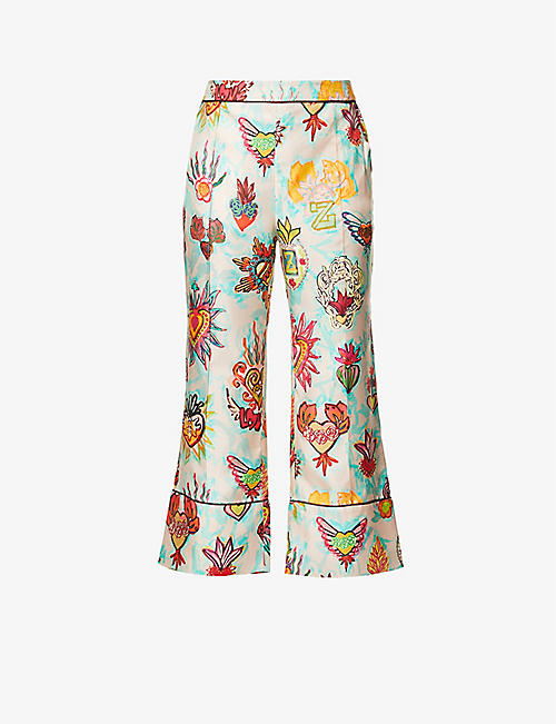 ZIMMERMANN: Flaming graphic-print high-rise silk trousers