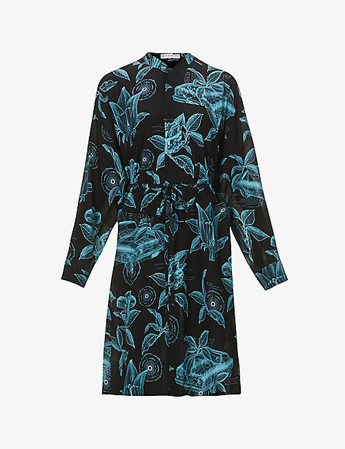 GIVENCHY: Floral and schematics-print silk-crepe midi dress