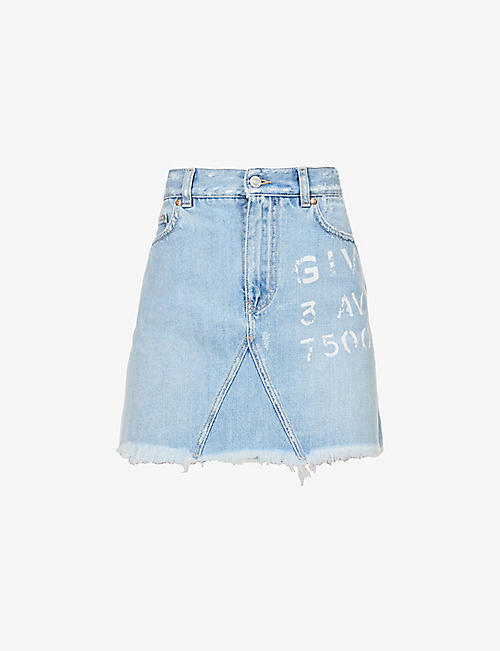 GIVENCHY: Logo-print high-waist denim mini skirt