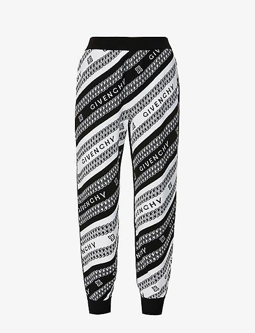 GIVENCHY: Chain logo-print wool jogging bottoms