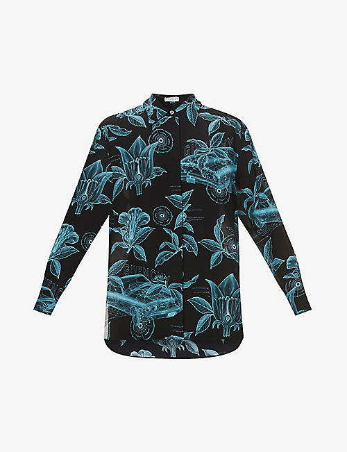 GIVENCHY: Floral and schematics-print silk-crepe shirt