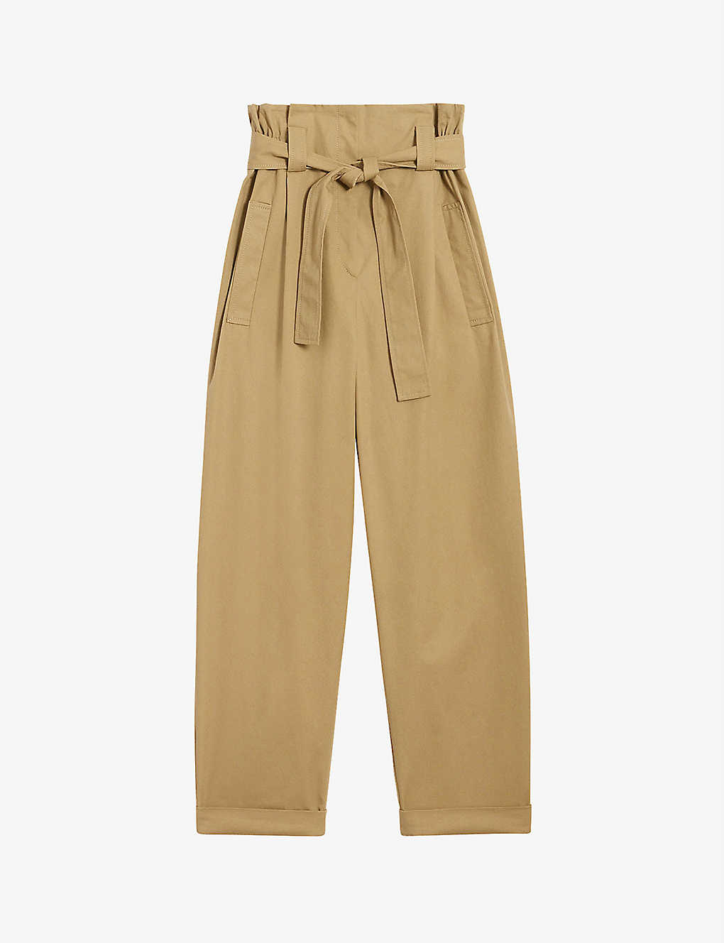 Orso belted tapered high-rise cotton trousers
