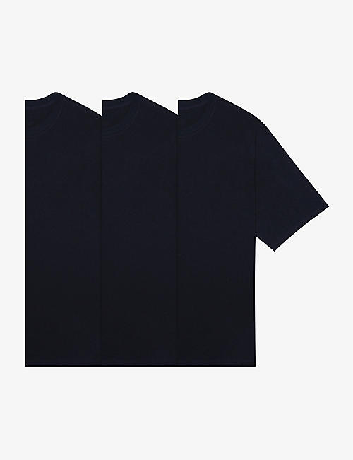 FOG X ESSENTIALS: ESSENTIALS brand-print cotton-blend T-shirt pack of three