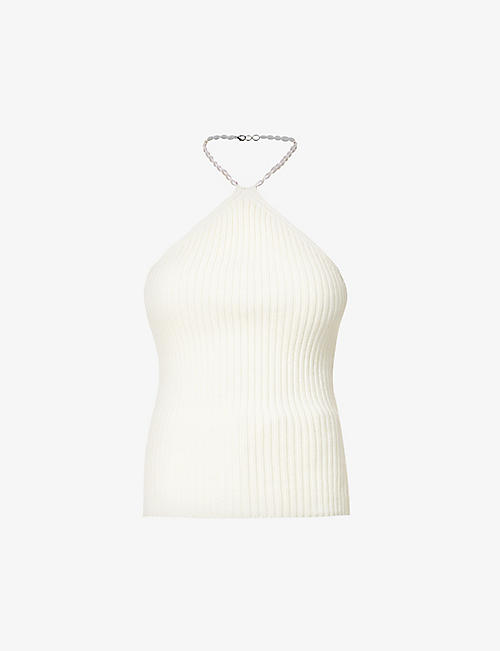 MUSIER PARIS: Jonnie halterneck cotton-knit top