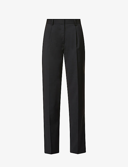 MUSIER PARIS: Virna wide-leg mid-rise wool-blend trousers