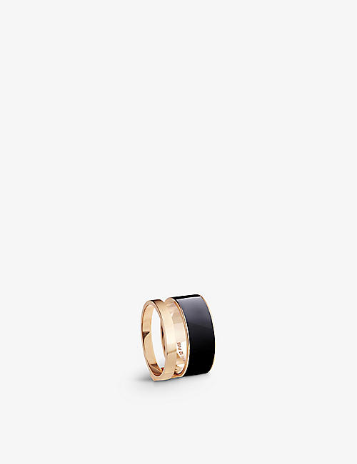 REPOSSI: Berbere Module lacquer and 18ct rose-gold ring