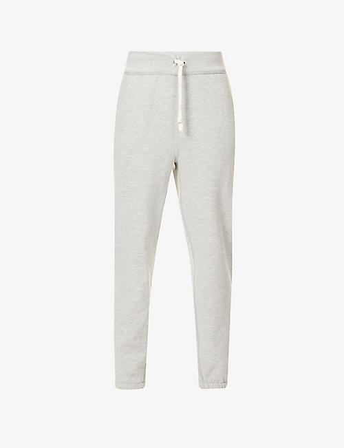 POLO RALPH LAUREN: Logo-embroidered mid-rise cotton-blend jersey jogging bottoms