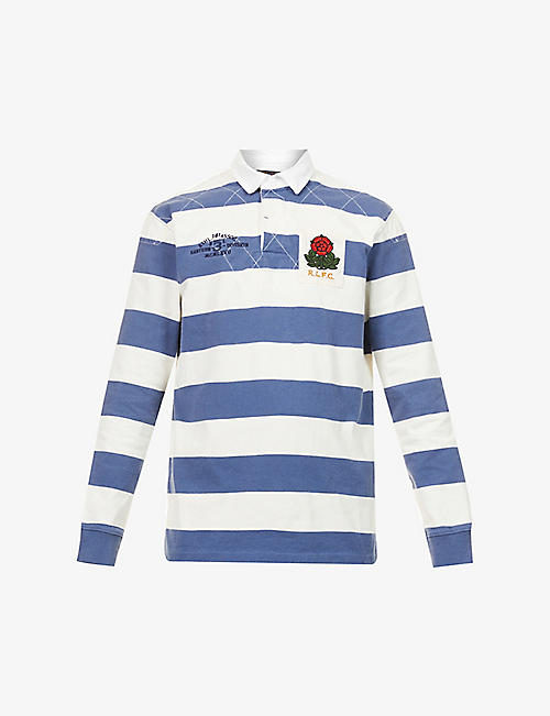 POLO RALPH LAUREN: Stripe-print branded cotton rugby shirt