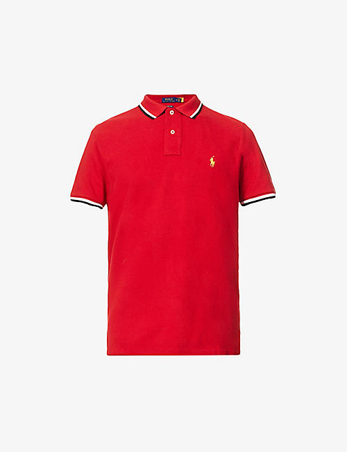 POLO RALPH LAUREN: Logo-embroidered custom-fit cotton polo shirt