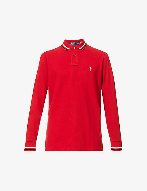 POLO RALPH LAUREN: Logo-embroidered slim-fit cotton polo top