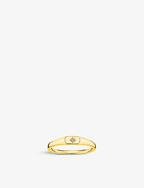 THOMAS SABO: Star 18ct yellow gold-plated sterling silver stacking ring