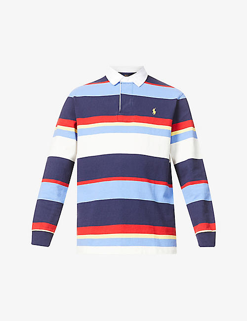 POLO RALPH LAUREN: Striped classic-fit cotton-jersey rugby shirt