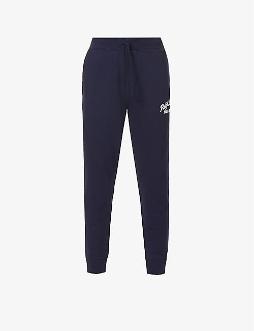 POLO RALPH LAUREN: Logo-embroidered mid-rise cotton-blend jogging bottoms