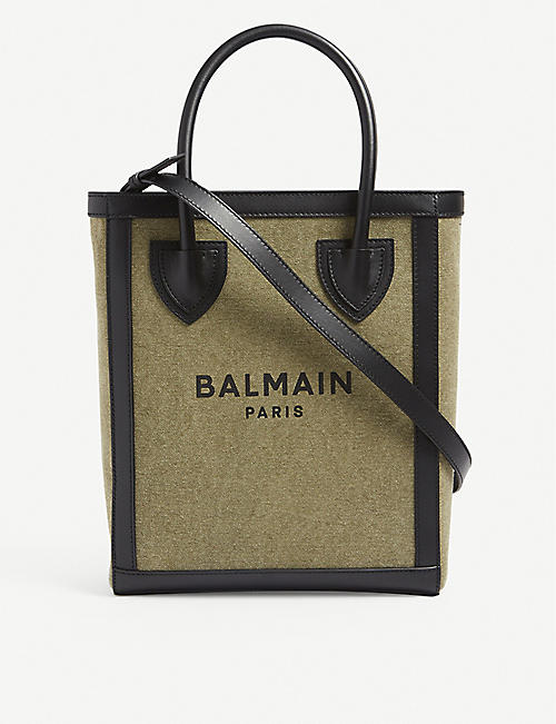BALMAIN: B-army canvas and leather tote bag