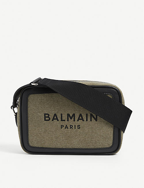 BALMAIN: B-army cotton-canvas and leather camera bag
