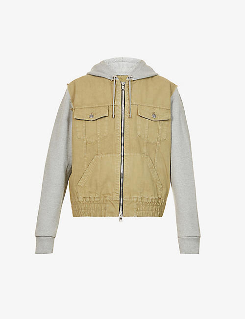 BALMAIN: Drawstring-hooded faded cotton-jersey and denim jacket