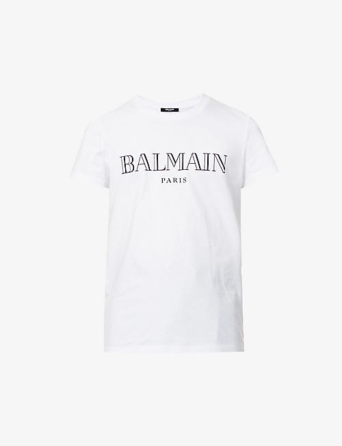 BALMAIN: Paris brand-print cotton-jersey T-shirt