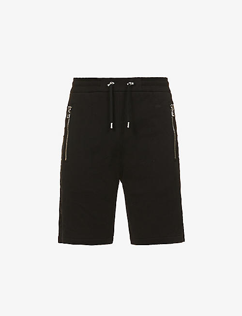 BALMAIN: Brand-embossed drawstring-waistband cotton-jersey bermuda shorts