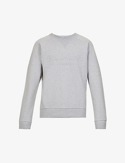 BALMAIN: Logo-embossed crewneck cotton-jersey sweatshirt