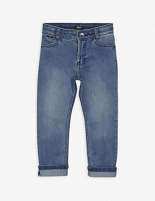 BOSS: Straight-leg mid-rise cotton-blend jeans 4-12 years