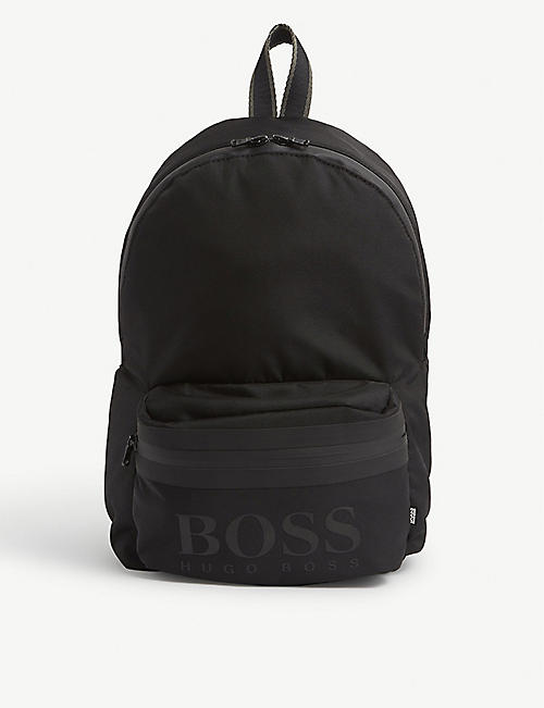 BOSS: Kids logo-embroidered woven backpack