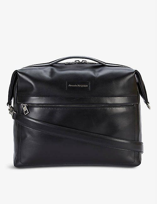 ALEXANDER MCQUEEN: Branded large leather messenger bag