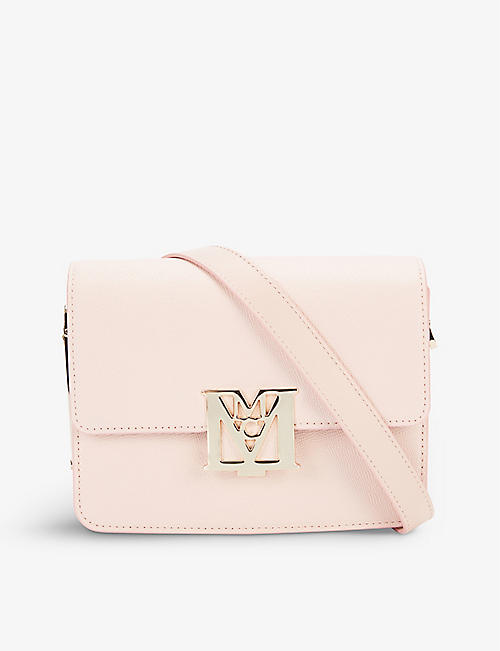 MCM: Mena Visetos mini logo-buckle leather shoulder bag