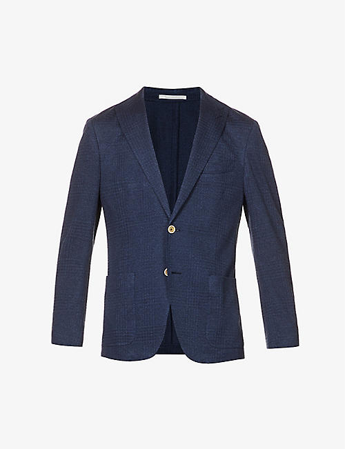 ELEVENTY: Checked single-breasted linen-cotton blend blazer