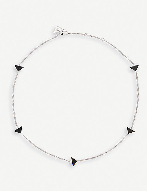 PRADA: Triangle enamel and sterling-silver necklace