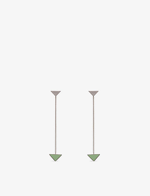 PRADA: Branded enamel and sterling-silver drop earrings